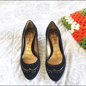 Sam Edelman Black Suede Gold Accent Heels Vintage